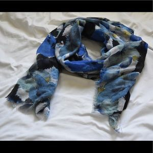 H&M Blue Floral Scarf and Shawl, Multi-purpose